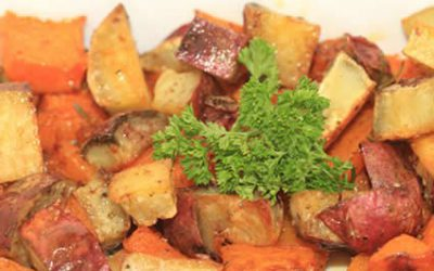 Baked butternut and sweet potato cubes