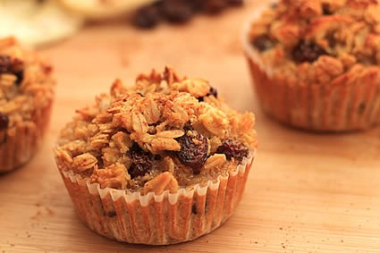 Healthy rolled oats breakfast muffins